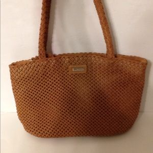 👛 ERIC JAVITS woven leather tote bag light brown
